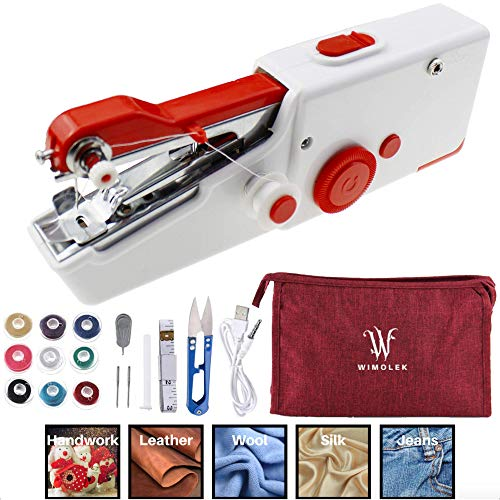 Handheld Sewing Machine Set with Sewing Accessories and Carrying Pouch. Mini Sewing Machine, Portable Sewing Machine, Small Sewing Machine Cordless for Quick Handy Stitch Repairing. Suitable for Fabric, Clothing, for Home, Travel, DIY