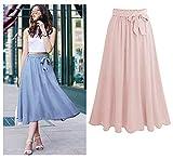 Charm4you Falda Mujer Elástica Plisada,Falda de Gasa de Color sólido de Gran tamaño-Pink_4XL #,Falda Elástica Patinadora de