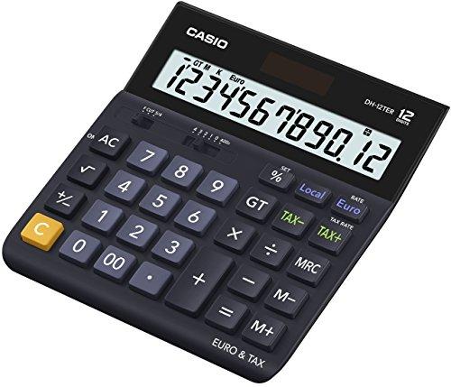 CASIO Tischrechner DH-12TER, 12-stellig, Steuerberechnung, Gesamtsummen-Speicher, Solar-/Batteriebetrieb