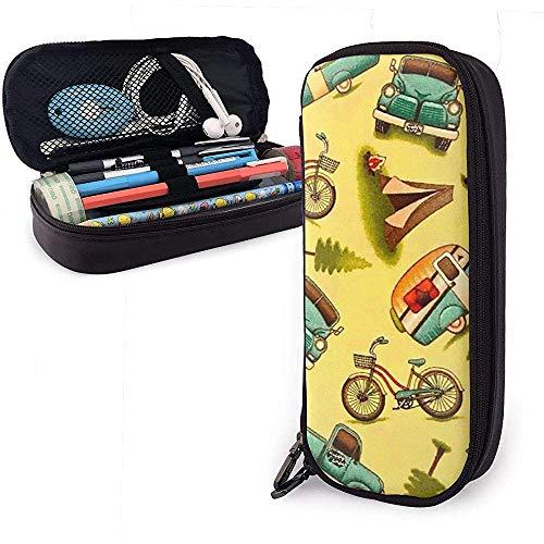 Pu lederen etui, gelukkige camper grote capaciteit opslag marker case pen houder, cosmetische make-up zak, briefpapier organizer potlood zak