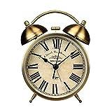 BENREN 1 Unid Reloj de Escritorio Redondo Retro Campana Pequeño Reloj Despertador para el Hogar Sala de Estar Dormitorio Oficina Sin Batería