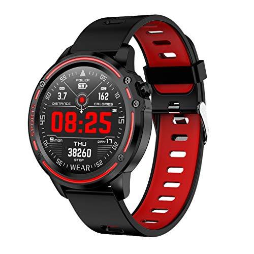 Herren Fitness SmartWatch, kompatibel Damen IP68 wasserdichte Sportuhr Touchscreen Android/IOS GPS Smart Armband Tracker Herzfrequenz messung Schlafmonitor Kalorienzähler Stoppuhr (Rot)