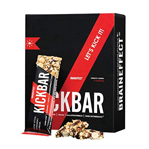 BRAINEFFECT KICKBAR - Crunchy Energieriegel mit Koffein & Guarana - 12 x 35 g - Ganze Nüsse & Cranberries - Ballaststoffreich - Lower Carb - Vegan