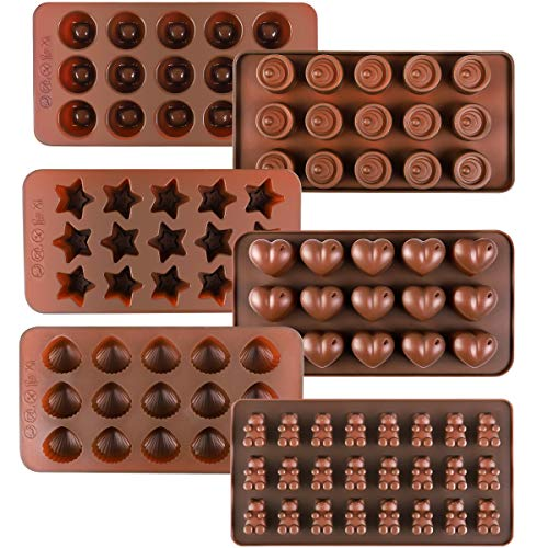 Kootek 6 Pieces Silicone Chocolate Molds, Reusable 90 Cavity Candy Baking Mold Ice Cube Trays Candies Making Supplies for Chocolates Hard Candy Cake Decoration Soap Crayons Candles (Brown)
