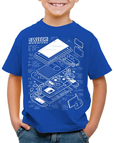 style3 Switch Blaupause T-Shirt für Kinder pro Gamer Konsole Joy-Con, Farbe:Blau, Größe:164