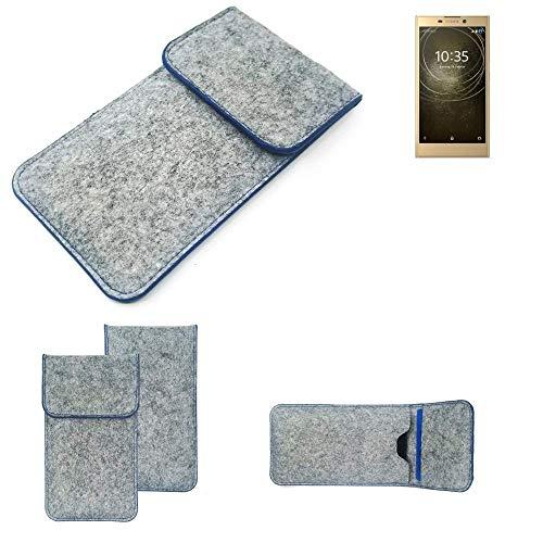 K-S-Trade Filz Schutz Hülle Für Sony Xperia L2 Dual-SIM Schutzhülle Filztasche Pouch Tasche Hülle Sleeve Handyhülle Filzhülle Hellgrau, Blauer Rand