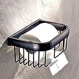 Weare Home Porte Rouleau de Papier Toilette en Laiton Accessoires WC Design Noire Fixation Murale Finition Bronze Huilé Antique Classique Rétro