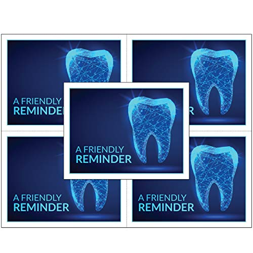 Dental Laser Appointment Reminder Postcards with Personalizable Backs. 4 Cards Micro Perforated for Tear-Off at 4.25