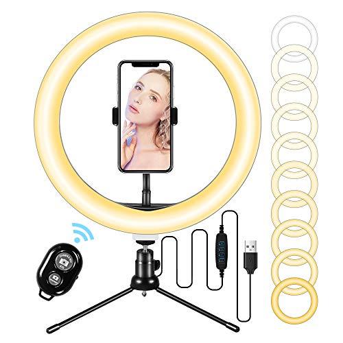 LED Ringlicht 10'mit Stativ und flexiblem Telefonhalter, Schreibtisch-Make-up Selfie-Ringlicht mit dimmbaren 3 Lichtmodi und 10 Helligkeitsstufen für YouTube-Videofotografie...