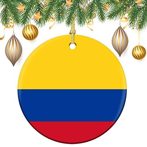 Adornos de Navidad, Bandera de Colombia Árbol de la Memoria de Navidad Redondo Ornamento, Cerámica de la Decoración del Recuerdo Ornam