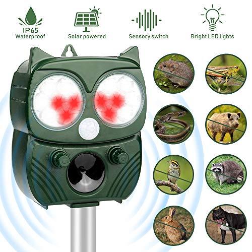 Repellente per animali,Repellente Ultrasuoni Energia Solare Impermeabile a Fequenza Regolabile per Allontanare...