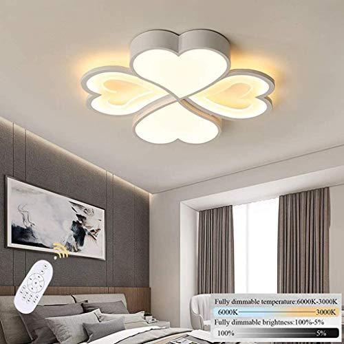 Luz de techo LED Lámpara de sala de estar Lámpara de techo regulable con control remoto 4-Luz Forma de flores moderna Diseño interior Redondo Acrílico Lámpara Dormitorio Dormitorio Oficina Blanco Tech