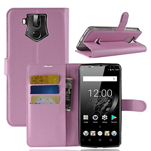 LMFULM® Hülle für Oukitel K10 (6,0 Zoll) PU Leder Magnet Brieftasche Lederhülle Litschi Muster Standfunktion Ledertasche Flip Cover für Oukitel K10 Rose