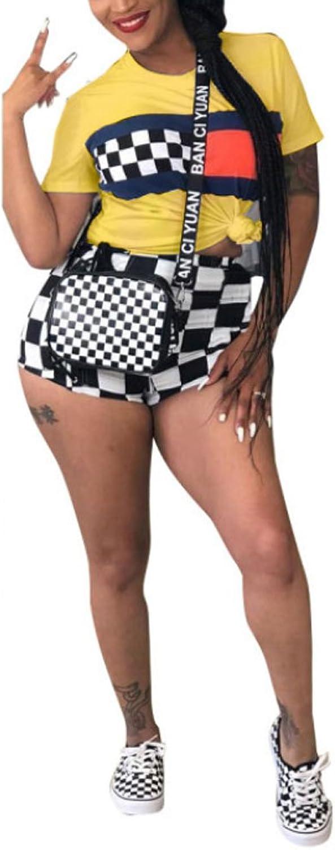 a7b05c8d6 KIRJAUDU Plaid 2 Piece Jumpsuit Short Sleeve Shirts and Bodycon ...