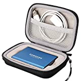 Lacdo Hard Travel Case for Samsung T5 T3 Portable 250GB 500GB 1TB 2TB SSD USB 3.1 Type C Hard Drive External Solid State Drives EVA Shockproof Carrying Storage Bag, Black