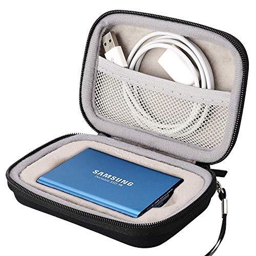 Lacdo Custodia Hard Disk Esterno Disco Rigido per Samsung T5 T3 SSD Portable esterno portatile 250 GB 500 GB 1TB 2TB Trasportare Antiurto Impermeabile Borsa, Nero
