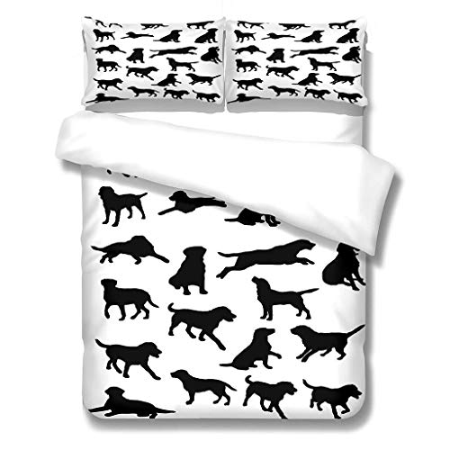 Duvet Cover Super King Size Set Boys 220x260 cm 3 Piece Bedding Set Includes 2 Pillowcases 50x75 cm Microfibre Polyester Quilt Cover Set with Zipper Closure, Bedding Quilt Cover for Girl, Dog or wolf