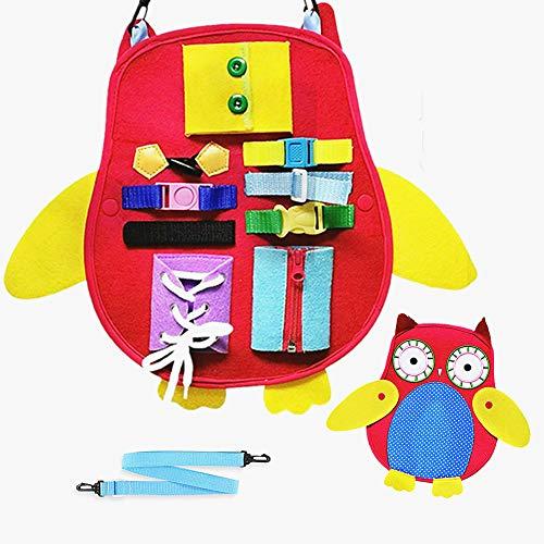 Felly Montessori Bebé Activo Tablero Ocupado, Juguetes Educativo Temprano de Habilidades Básicas para la Vida para Aprender Cremallera, Broche, Hebilla, Juegos para Bebés Niños de 1 2 3 4 5 Años