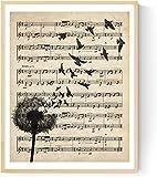 Nacnic Lámina Poster Diente de león Vintage de partituras. Ilustracion sobre Antiguas partituras Amantes de la música. Tamaño A3
