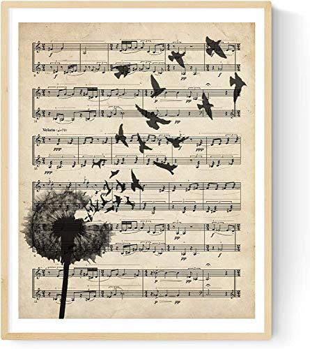 """Lámina poster """"Diente de león"""" vintage de partituras. Ilustracion sobre antiguas partituras. Perfecta para amantes de la música. Tamaño A3"""