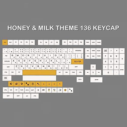 ScottDecor Tastaturplatte 108 Tasten 136 stücke Probe der mechanischen Gaming-Tastatur Pure White Design Keycap 136 Milky White Gliederung Keycap (Axis Body : XDA Profile, Color : Milk White keycaps)
