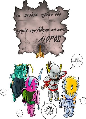 Okiwoki T-Shirt Noir Saint Seiya parodique Seiya, Shiryu, Hyoga et Shun dans la Maison d'Aioros : 4 touristes Japonais perdus en Grèce. (Parodie Saint Seiya)