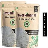 Swabhiman33 Organically Grown Khapli Wheat Atta (2kg)  Emmer Long Wheat Flour   Sugar Control   Weight Loss   Low Gluten   Stoneground (2 kg)