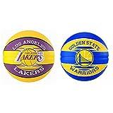 Spalding NBA Team L.A; Lakers 83-510Z Balón De Baloncesto, Multicolor, 7 + NBA Team Golden State 83-515Z Balón De Baloncesto, Unisex, Multicolor, 7