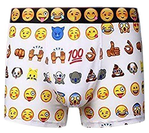 Imtd 3 Paar Herren NEUHEIT Emoji Gesichter Geschenkidee Design Baumwolle Lycra Boxershorts Unterwäsche Badehose S-XL - Gesichter Design, X-Large