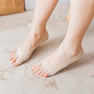 Calcetín de algodón para Mujer Summer Thin Open Toe Calcetines Zapatillas Femeninas Calcetines Antideslizantes Invisibles