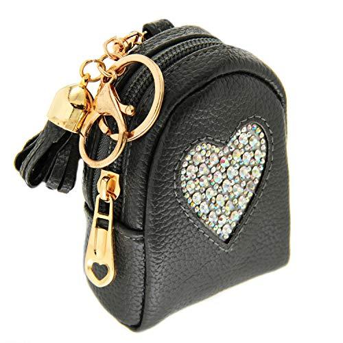 Sweet Deluxe Schlüsselanhänger Heart on Bag,DKL.grau/Crystal AB I Cooler Schlüsselhalter für Damen & Mädchen I Geschenk-Idee für Frauen & BFF Freundin I individueller Schlüsselring