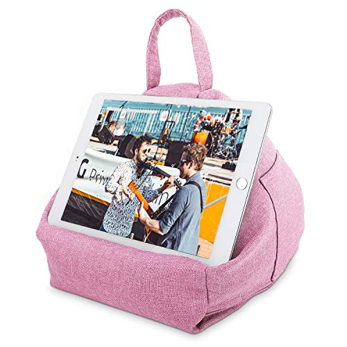 MoKo Tablet Pillow Stand, Tablet Lap Pillow on Bed Sofa Soft Cushion Holder for Phones Tablets Up to 11', Fit with iPad 10.2' 2019, iPad Air 3 2, iPad Pro 11 2020/10.5/9.7, Mini 5/Mini 4 - Pink