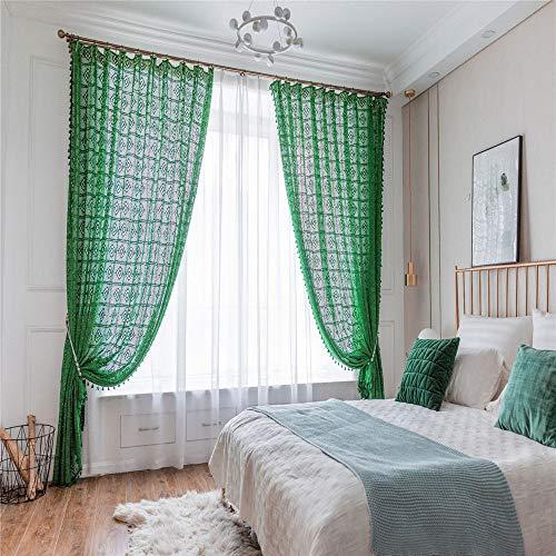 MMHJS Vintage Durchbrochene Vorhänge Lange Vorhänge In Bodennähe Gestrickte Antike Leinwand...