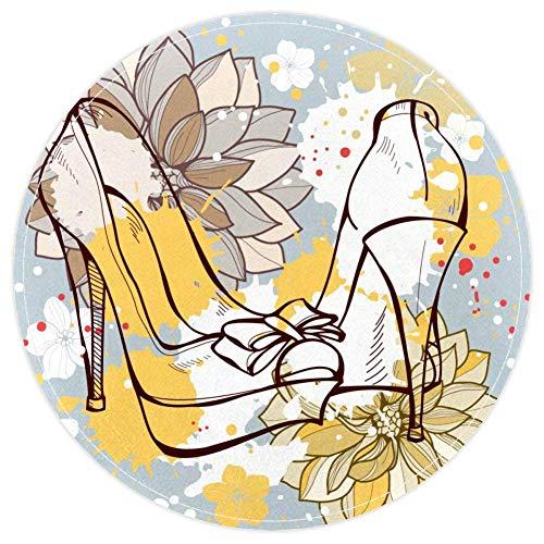HEOEH Alfombra de moda con diseño de mariposas y zapatos de belleza, antideslizante, de 39,9 cm, para dormitorio de niños, habitación de bebé, sala de juegos, guardería