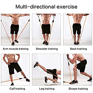Resistance Bands Set (11pcs), Exercise Bands with Door Anchors, Handles, Ankle Straps, Upper Body, Arms, Home Exercises and Physical Therapy, Home Workouts, Easy to Carry ,WANMAL