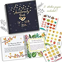 Wedding Anniversary Memory Book - A Hardcover Journal To Document Anniversaries From The 1st To 50th Year Unique Couple Gifts -Personalized Marriage Presents For Husband & Wife. Comes with Stickers