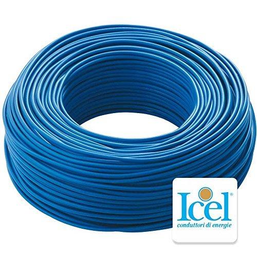 Cavo Icel Elettrico Unipolare Isolante FS17 per impianti casa aziende edili matassa da 100 metri (2,5 mm, Blu)