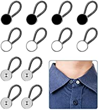 12pcs, Collar Extenders, Comfy & Premium Invisible Neck Extender, Adds 1 in Instantly, Button Extenders for Mens Dress Shirts Suits Trouser, Coat, Shirts (Black, White, Silver)