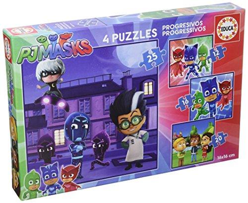 Educa Borrás - PJ Masks Set de 4 puzzles progresivos de 12, 16, 20 y 25 piezas (17273)