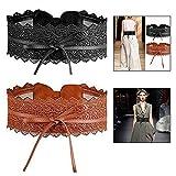 LHKJ 2 Pcs Cinturón de Encaje y Cuero Ajustable para Mujer para Vestido, Fiesta, Boda ect