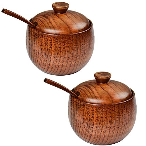 Akalnny 2 Pack Wooden Spice Jar, Salt and Pepper Bowls, Sugar Bowl Seasoning Box, Salt Container with Spoon and Lid Kitchen Organizer, Wooden Bowls (2 Pack)
