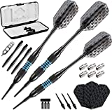 Viper Bobcat Adjustable Weight Soft Tip Darts with Storage/Travel Case: Black Coated Brass, Blue Rings, 16-19 Grams