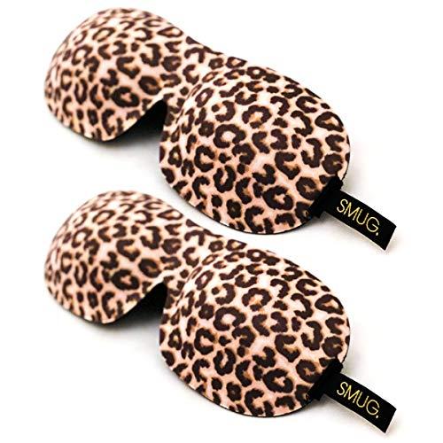 SMUG Eyelash Friendly Contoured 3D Blackout Beauty Sleep Mask/Eye Mask Twin Pack Gift Set, Animal Print