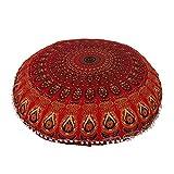 Kuberenterprisess 32 Inches Round Mandala Floor Pillow Throw Living Room Decor Round Seating Pouf Cover Mandala Floor Pillows Cushion