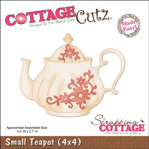 CottageCutz Die Cuts, 4 bij 4 inch, kleine theepot gemakkelijk gemaakt, 3.4