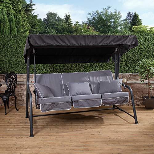 Alfresia Turin 3 Seater Reclining Swing Seat - Charcoal Frame Grey Cushions