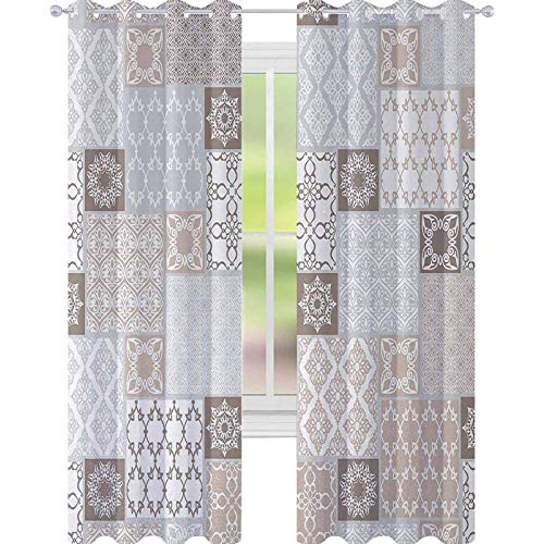 YUAZHOQI n Blackout Window Curtain Oriental Motif Pastel Patchwork Pattern with Filigree Ornaments Illustration Customized Curtains 52' x 63' White Beige Grey