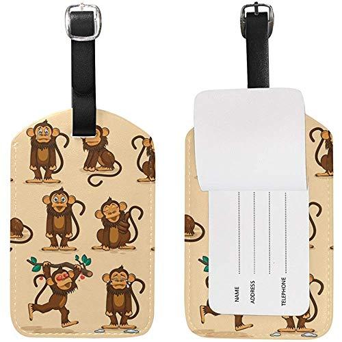 Cute Emoji Monkey Etiqueta de Equipaje Etiqueta de identificación de Viaje Cuero para Maleta de Equipaje 2 Piezas