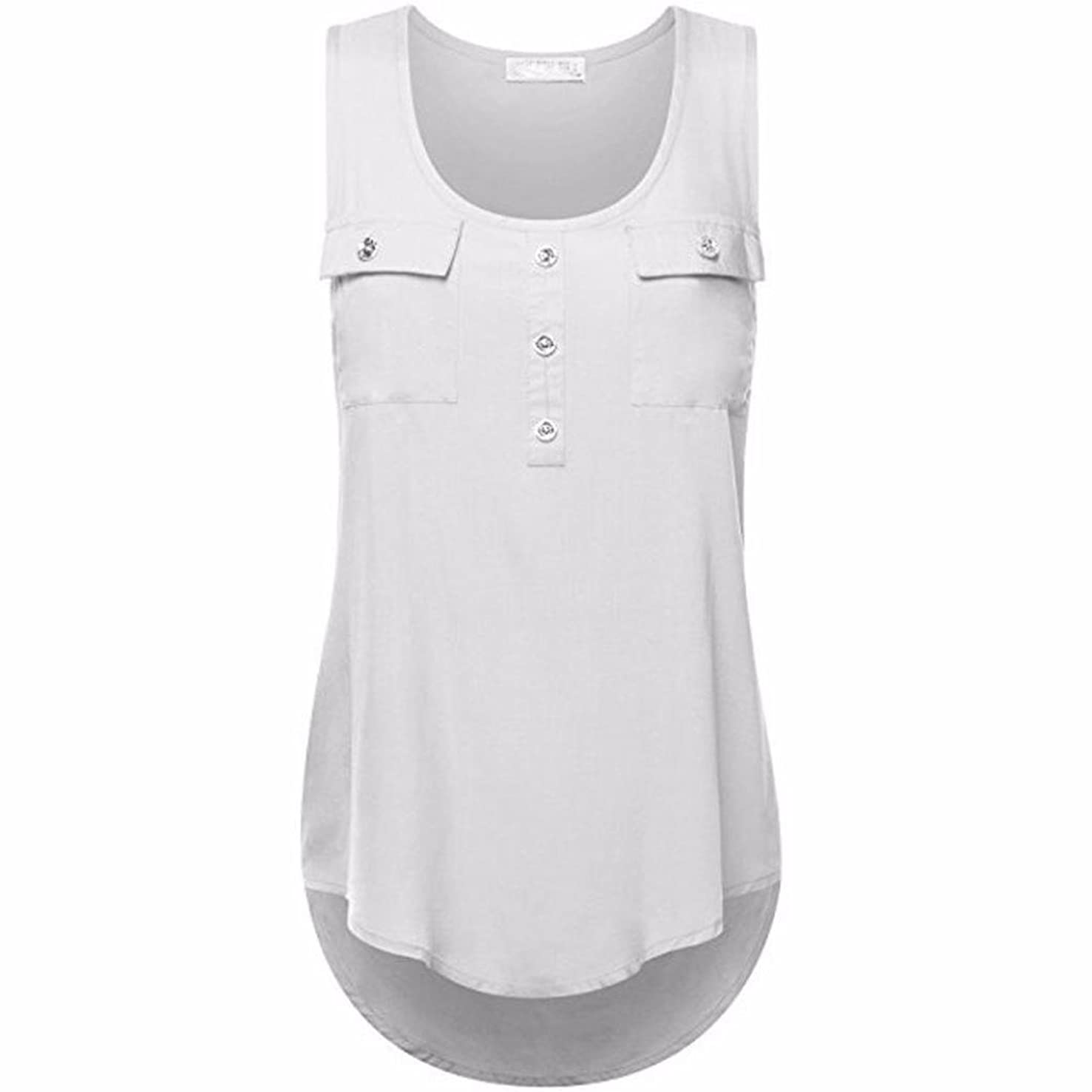 NEARTIME Plus Size Vest! Women's Tank Tops, Casual T-Shirt O-Neck Sleeveless Vest Sexy Loose Pockets Solid Color Blouse (??Asian3XL, White)