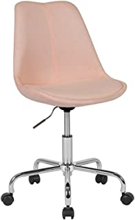Flash Furniture Aurora Series Mid-Back Pink Fabric Task Office Chair with Pneumatic Lift and Chrome Base - CH-152783-PK-GG